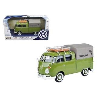 Volkswagen Type 2 (T1) Kundendienst Delivery Pickup Truck Green 1/24 Diecast Model Car by Motormax