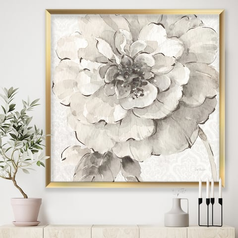 Designart 'Indigold Grey Peonies I' Farmhouse Premium Framed Art Print