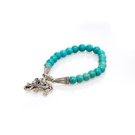 Natural Stone Meditation Stretch Bracelet Tibetan Mala with Good Luck Charm Elephant, Aventurine Blue
