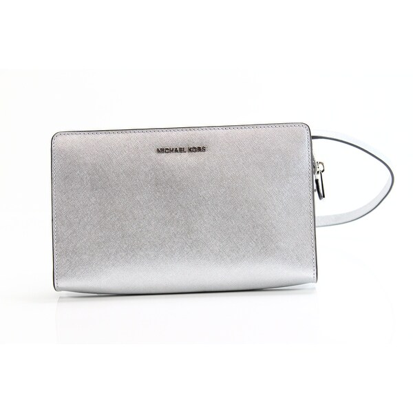 ba0030db5b03 Shop Michael Kors NEW Silver Saffiano Leather Large Crossbody Clutch ...