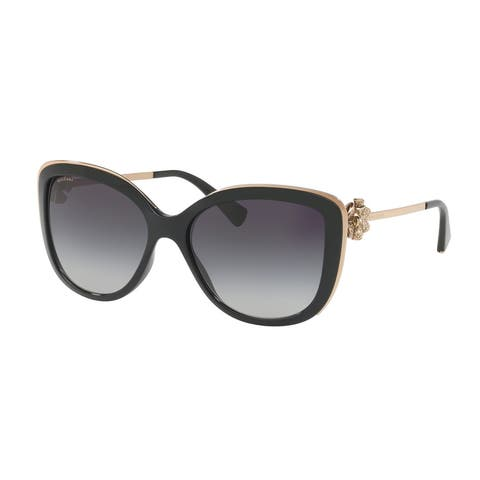Bvlgari BV6094B 20148G 57 Black Woman Cat Eye Sunglasses
