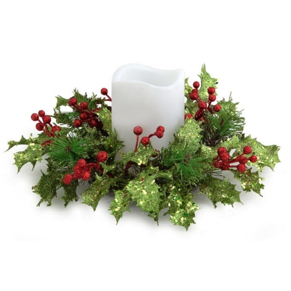 "10"" Artificial Christmas Holly and Red Berry Glitter Pillar Candle Rings"