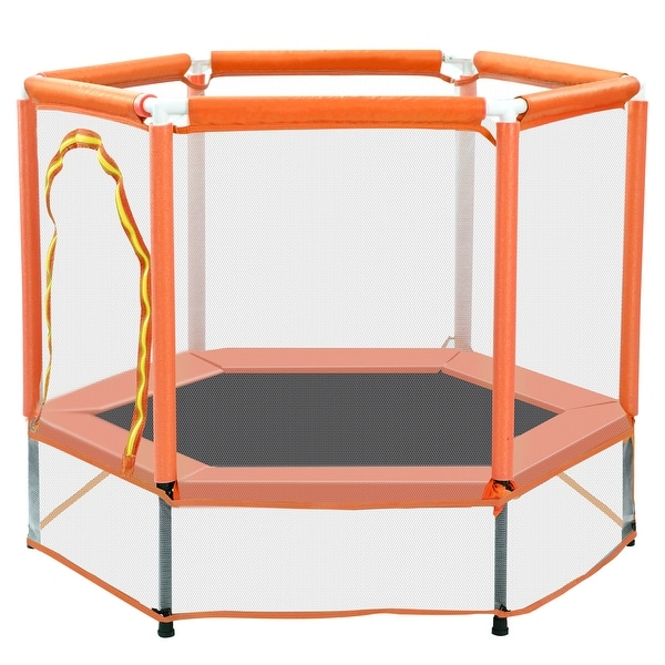 """Nestfair 55"""" Orange Trampoline with Safety Enclosure Net and Balls. Opens flyout."""