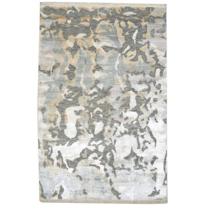 """One of a Kind Hand-Knotted Modern & Contemporary 5' x 8' Abstract Wool Silver Rug - 5'1""""x7'10"""""""