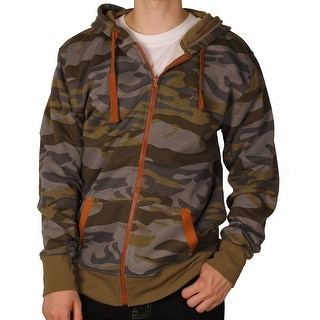 Royal Blue Men's Full-Zip Premium Fleece Camouflage Hoodie