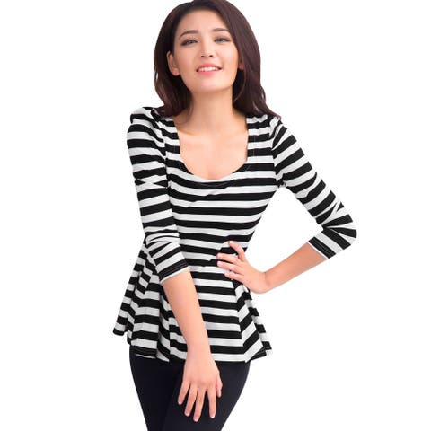 Women Scoop Neck Long Puff Sleeves Stripes Peplum Top - Black White