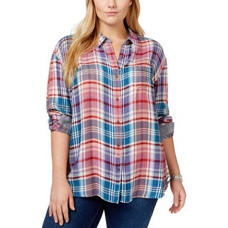 Lucky Brand Womens Plus Button-Down Top Plaid Adjustable Sleeves - 3x