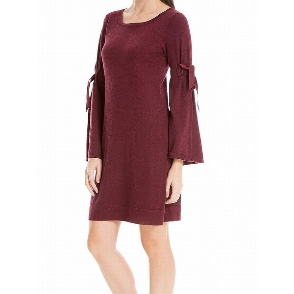 cd917c2df5 Shop Max Studio Red Burgundy Tie Bell-Sleeve Large L Sweater Dress ...