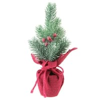 "9.5"" Frosted Mini Pine Christmas Tree with Berries in Burgundy Burlap Pot - green"