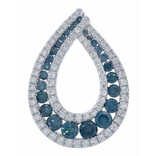 Prism Jewel 1 22 TDW Blue Color Diamond G H SI1 Diamond Pear Shaped Pendant