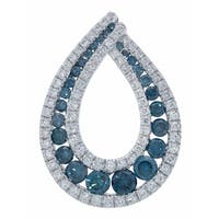 Prism Jewel 1.22 TDW Blue Color Diamond & G-H/SI1 Diamond Pear Shaped Pendant