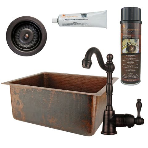 Premier Copper Products BSP4_BREC20DB-D Bar Sink, Faucet and Strainer Drain Package