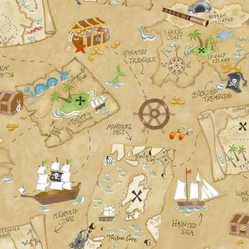 Shop York Wallcoverings YS9294 Pirate Map Wallpaper - Ships To ...