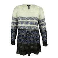 Alfani Women's Striped Open-Knit Sweater - ombre sequined