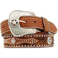 Nocona Western Belt Mens Leather Hair Star Concho Brown
