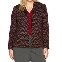 Kasper Red Womens Size 24W Plus Chevron Jacquard Open Front Jacket