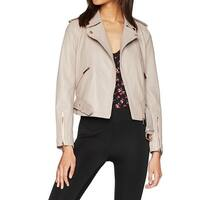 True Religion Beige Womens Size Medium M Leather Moto Jacket