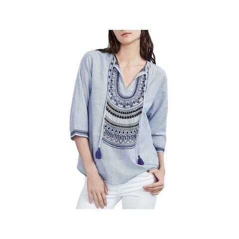 VELVET BY GRAHAM & SPENCER Womens Mallory Blouse Striped Embroidered