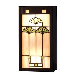 """Meyda Tiffany 71008 Ginko 8"""" Wide ADA Compliant 2-Light Wall Washer with Stained Glass Shade - Mahogany Bronze - N/A"""