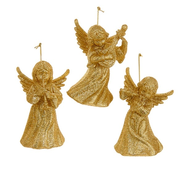 """24 Gold Glitter Angel Holding A Musical Instrument Christmas Ornaments 3.75"""""""