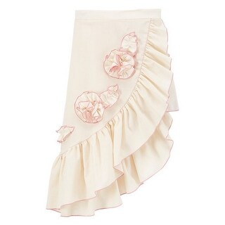 Little Girls Ivory Pink Rosette Accent Asymmetric Hem Ruffle Skirt (Option: 3t)
