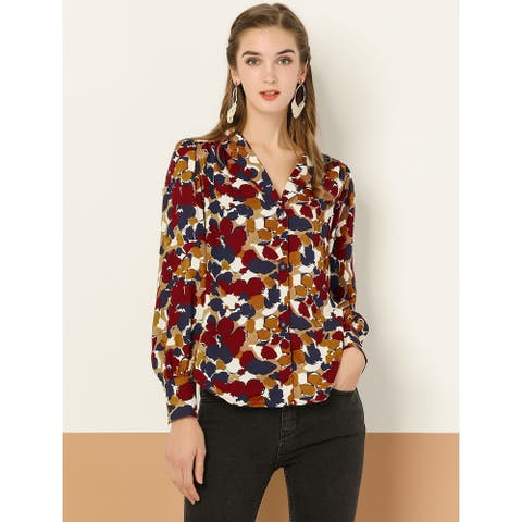 Women's V Neck Blouse Long Sleeve Button Floral Shirt - Red