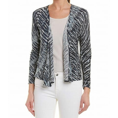 NIC+ZOE Womens Sweater Blue Size Large L Cardigan Printed Flyaway