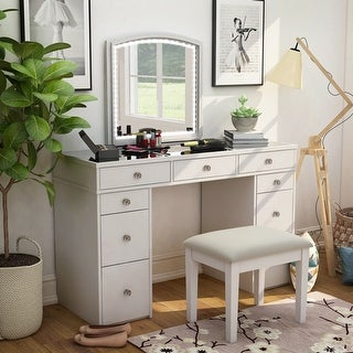 Link to Furniture of America Cork Transitional White 3-piece Vanity Set Similar Items in Bedroom Furniture