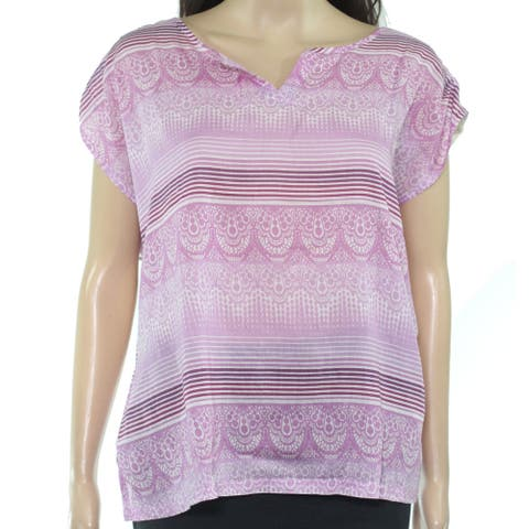 prAna Womens Blouse Purple Size Medium M Split Neck Printed Crochet Trim