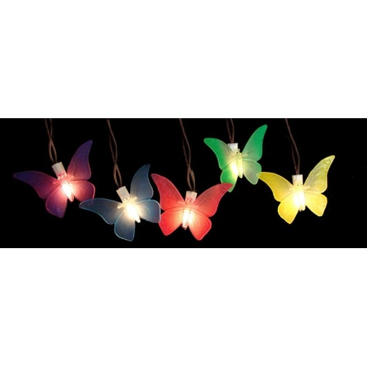 Set Of 10 Battery Operated LED Butterfly Garden Patio Umbrella Lights With  Timer