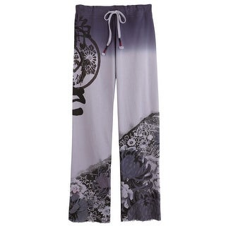 Women's Asian Print Lounge Pants - Lilac and Purple Midnight Garden