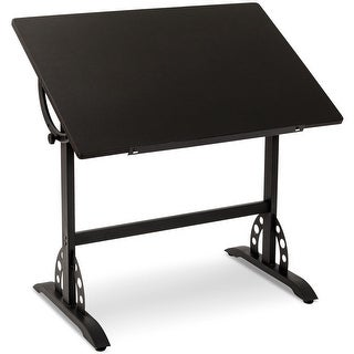 Gymax Vintage Adjustable Drafting Table Art & Craft Station Hobby Drawing Desk Black