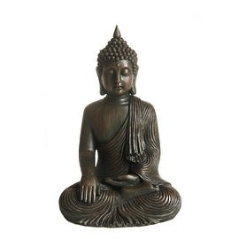 "18"" Distressed Black & Bronze Sitting Buddha Outdoor Patio Garden Statue"