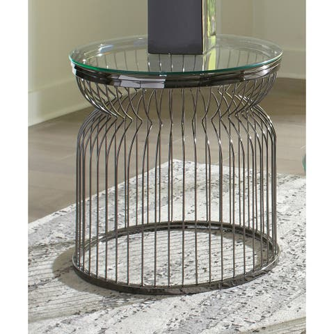 Grayson Black Nickel Round Glass Top End Table