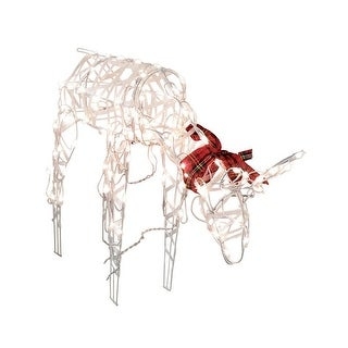 Sienna R6404125 Wire Deer with Red Plaid Bow Christmas Figurine, White, Metal