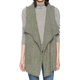Kensie NEW Olive Green Womens Size Medium M Open-Front Faux-Fur Vest
