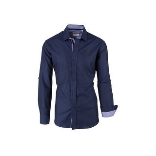CLEARANCE Navy Blue with Lavender Pattern, Modern Fit, Long Sleeve Sport Shirt by Tiglio Sport SP9010