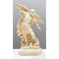 """Pack of 2 Off-White Religious Catholic St. Michael Table Top Figures 8"""" - White"""