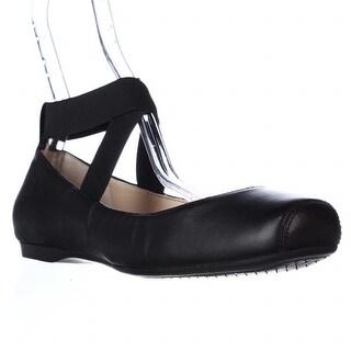 Jessica Simpson Mandalaye Criss-Cross Ankle Strap Ballet Flats - Black/Black