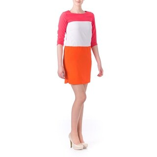 Tommy Hilfiger Womens Colorblock 3/4 Sleeves Wear to Work Dress