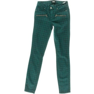 Paige Womens Checkered Mid-Rise Colored Skinny Jeans