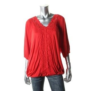 Cable & Gauge Womens Crochet Trim Raglan Sleeves Pullover Top - L