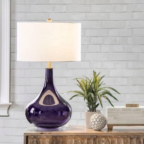 "nuLOOM Farrell 26"" Glass Purple Table Lamp - 15""W x 15""D x 25.5""H"
