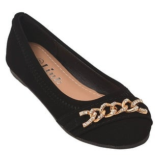 Little Girls Black Rhinestone Chain Detail Casual Slip-On Flats