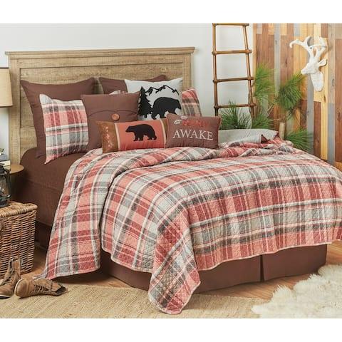 Saffron Plaid Rustic Lodge Twin Quilt Set