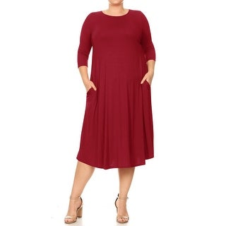 Link to Women's Solid Casual Relaxed A-Line Midi Dress Similar Items in Dresses