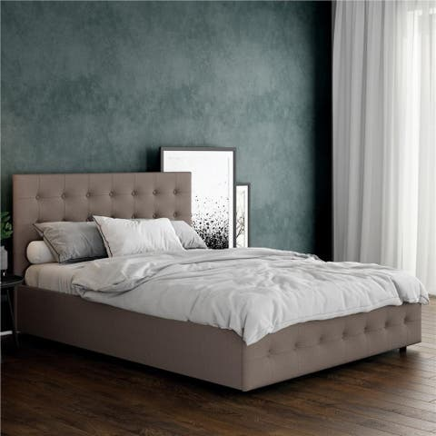 Avenue Greene Stefanie Grey Linen Queen Upholstered Bed with Storage Size