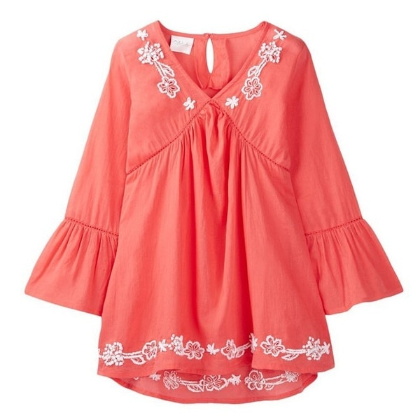 Azul Baby Girls Coral Bell Sleeve Embroidered Cotton Tunic Cover Up