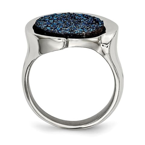 Chisel Stainless Steel Polished With Blue Druzy Stone Standard Fit Ring