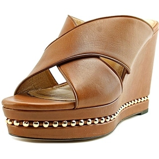 Coach Emily Women  Open Toe Leather Tan Wedge Heel